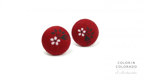 Earrings with White Flower Black Leaf on Red