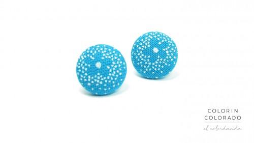 Earrings with White Flower on Sky Blue