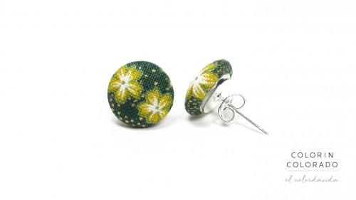 Earrings-with-Yellow-White-Japanese-Flower-on-Dark-Green-1