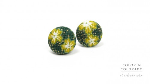 Earrings with Yellow White Japanese Flower on Dark Green