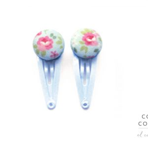Mini Hair Clips with flowers and green leafs on light Blue