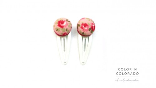 Mini hair clips flowers pink