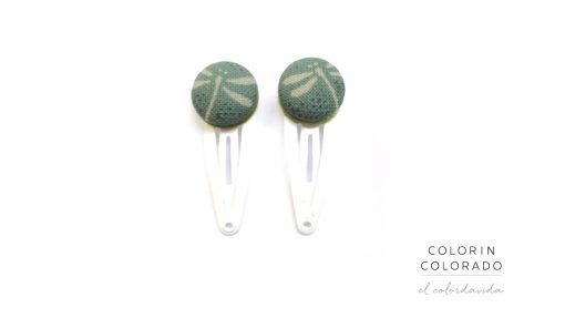 Mini hair clips with white dragonfly on green