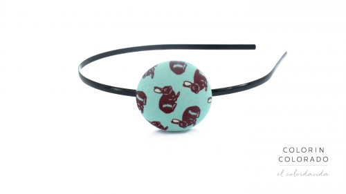 Hair Band with Brown Rabbit on Turquoise