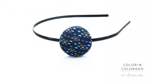 Hair Band with Colored Dots on Dark Blue