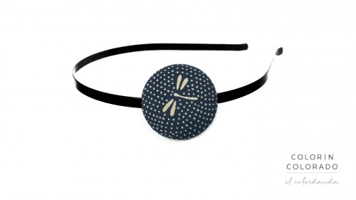 Hair Band with Grey Dragonfly Dots on Dark Blue