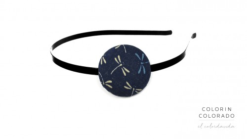 Hair Band with Grey Dragonfly on Dark Blue