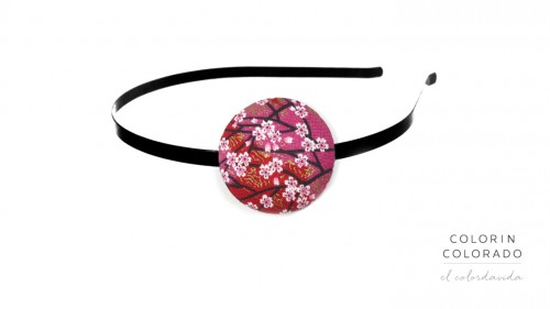 Hair Band with Japanese Pink White Flower on Pink