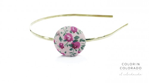 Hair Band with Pink Flowers on White