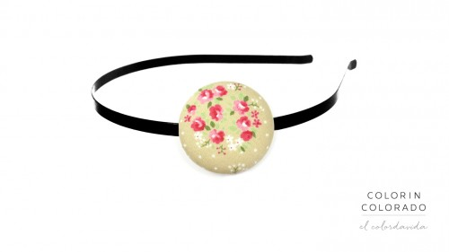 Hair Band with Pink Rose White Dots on Grey