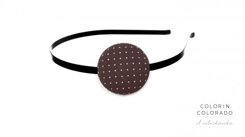 Hair Band with White Dots on Brown