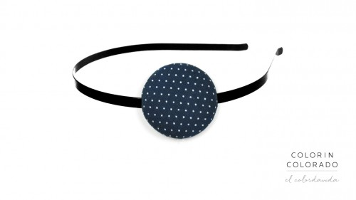 Hair Band with White Dots on Dark Blue
