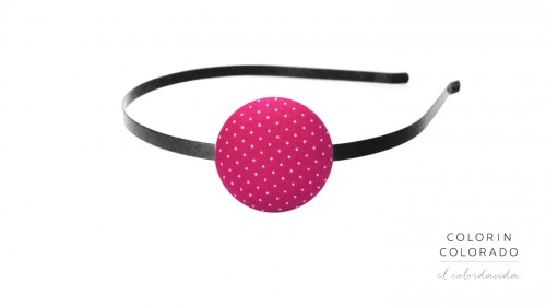 Hair Band with White Dots on Pink
