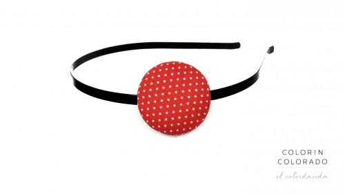 Hair Band with White Dots on Red