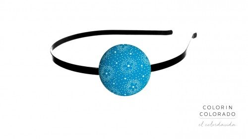 Hair Band with White Flower on Sky Blue