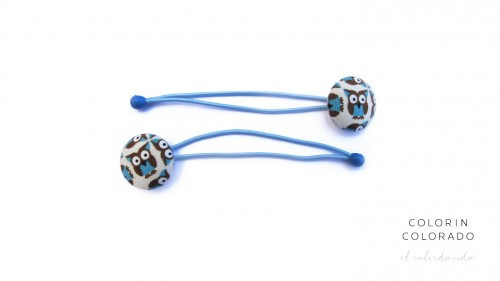 Hair Tie with Blue Owl on White