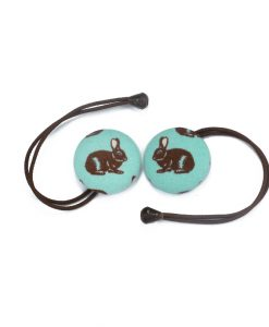 Hair Tie with Brown Rabbit on Turquoise