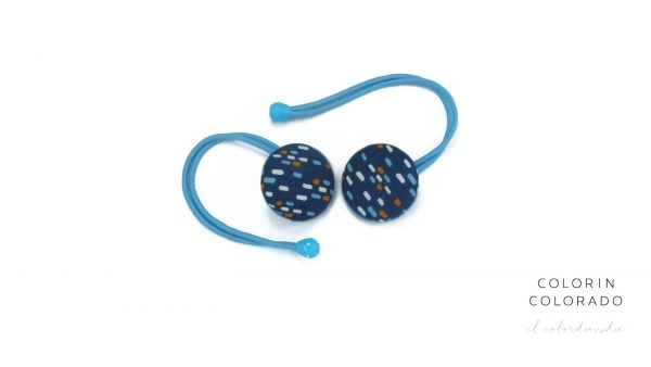 Hair Tie with Colored Dots on Dark Blue