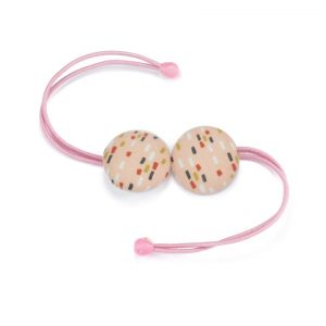 Hair Tie with Colored Dots on Light Pink