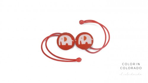 Hair Tie with Elephant on Red