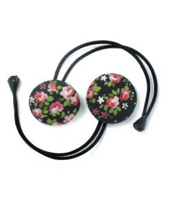 Hair Tie with Flowers and Green Leaves on Black