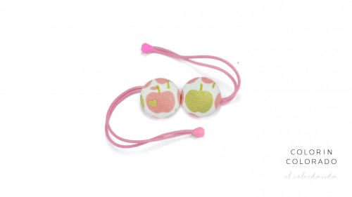 Hair Tie with Golden Apple with Pink on White