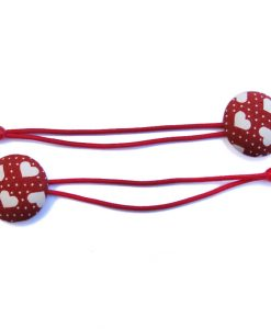 Hair Tie with Grey Heart White Dots on Red