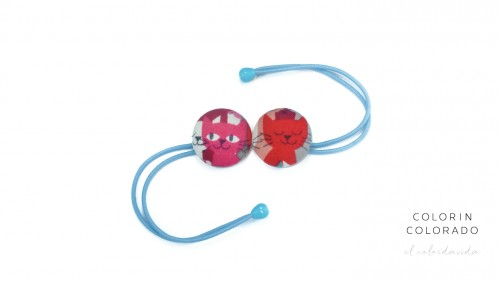 Hair Tie with Pink Cat on Blue and White