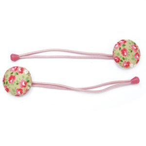 Hair Tie with Pink Rose White Dots on Grey