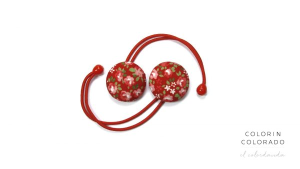 Hair Tie with Pink Rose White Dots on Red A