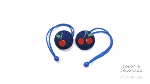Hair Tie with Red Cherries on Blue