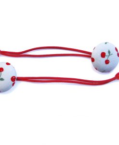 Hair Tie with Red Cherries on White