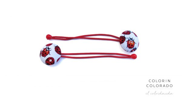 Hair Tie with Red Ladybug on White