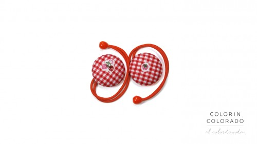 Hair Tie with Strawberry on Red Gingham