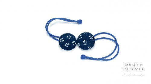 Hair Tie with White Boat Anchor on Dark Blue