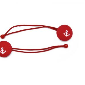 Hair Tie with White Boat Anchor on Red A