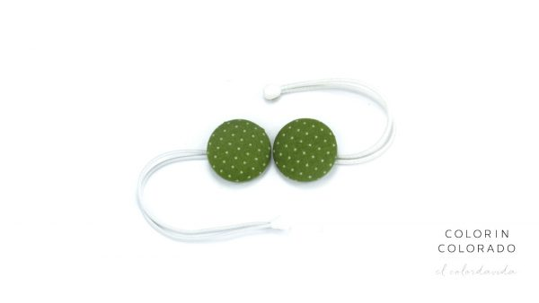 Hair Tie with White Dots on Green