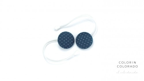 Hair Tie with White Dots on Petrol Blue