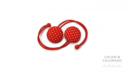 Hair Tie with White Dots on Red