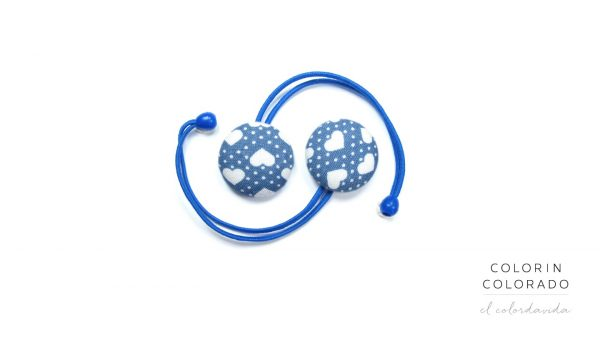 Hair Tie with White Heart Big White Dots on Light Blue