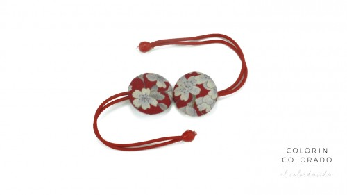 Hair Tie with White Japanese Flowers on Red