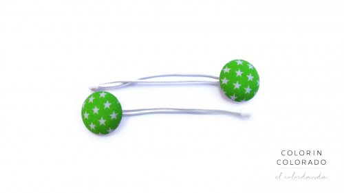 Hair Tie with White Stars on Green