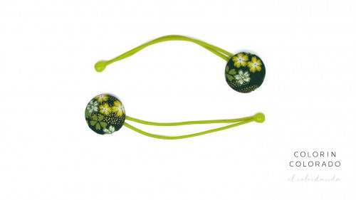 Hair Tie with Yellow White Japanese Flower on Dark Green