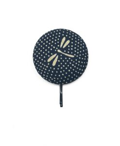 Large Hair Pin with Grey Dragonfly Dots on Dark Blue