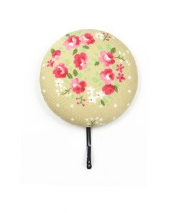 Large Hair Pin with Pink Rose White Dots on Grey