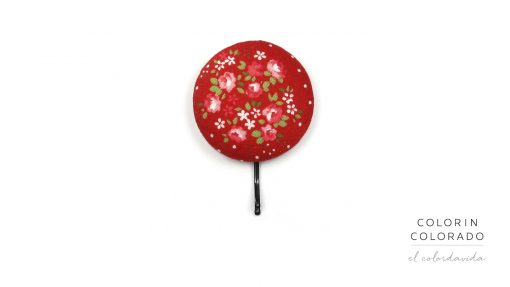 Large Hair Pin with Pink Rose White Dots on Red A