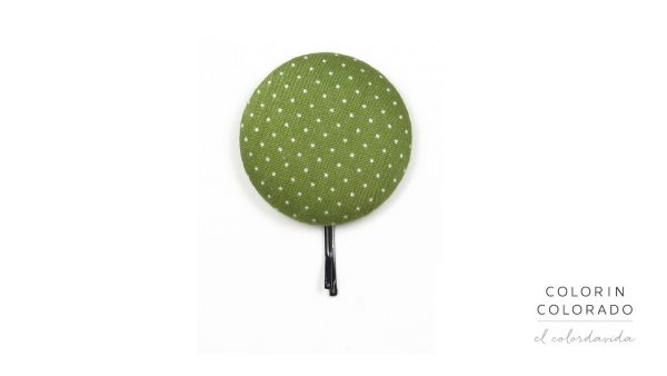 Large Hair Pin with White Dots Big on Green