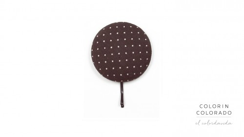 Large Hair Pin with White Dots on Brown