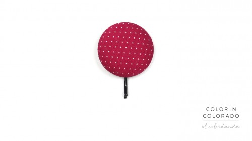 Large Hair Pin with White Dots on Pink