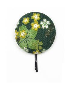 Large Hair Pin with Yellow White Japanese Flower on Dark Green
